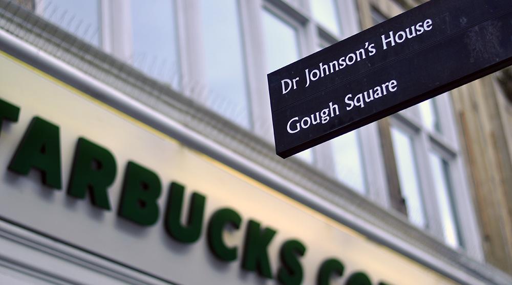 Sign to Dr Johnson's House, Starbucks